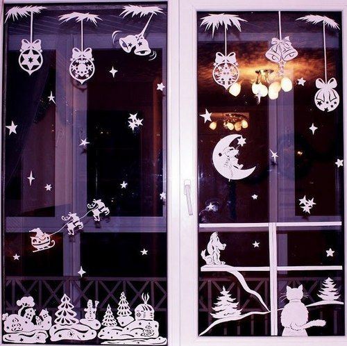 Новогоднее украшение окон в детской фото